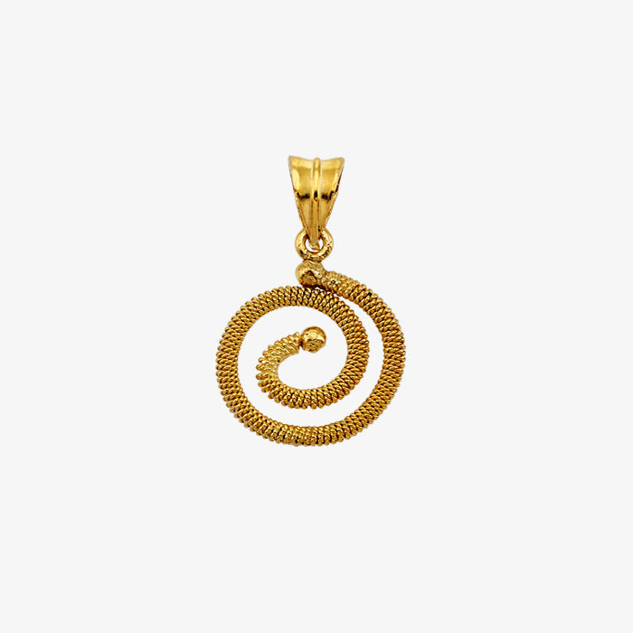 18K Solid Yellow Gold Wire Wrap Pendant