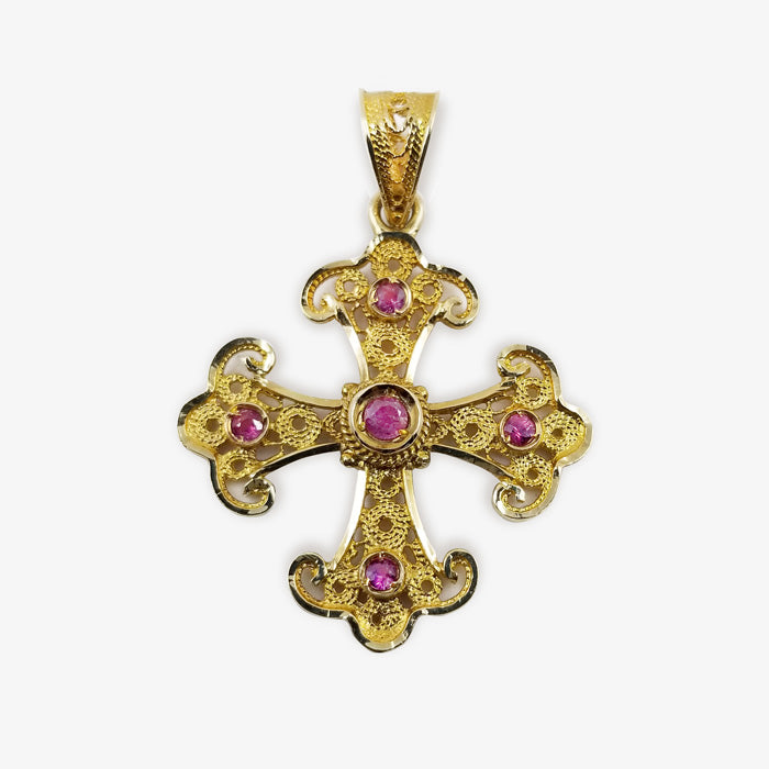 18K Gold Filigree Style Cross with 5 Pink Rubies