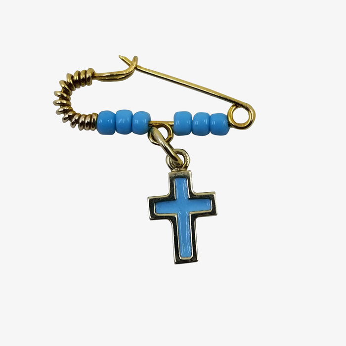 14K Gold Pin and Cross with Blue Enamel