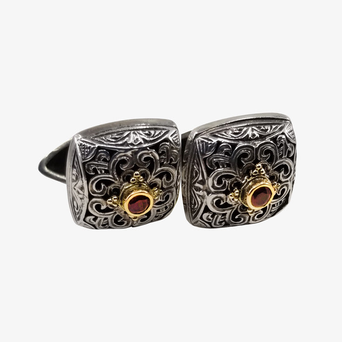 Sterling Silver and 18K Gold Cufflinks with Ruby