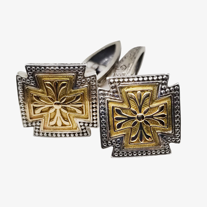 Sterling Silver and 18K Gold Cross Cufflinks