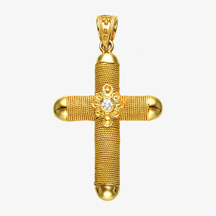 18K Solid Yellow Gold Wire Wrap Cross with Diamond