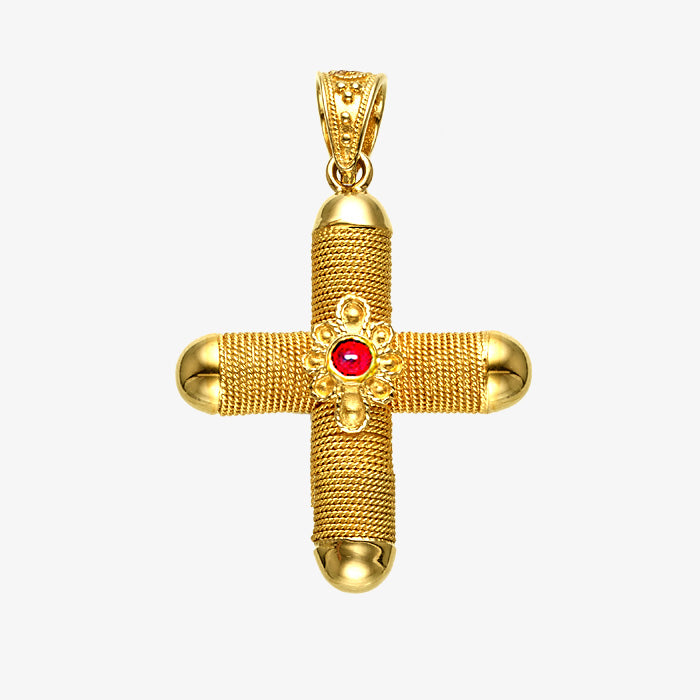18K Solid Yellow Gold Wire Wrap Cross with Ruby stone