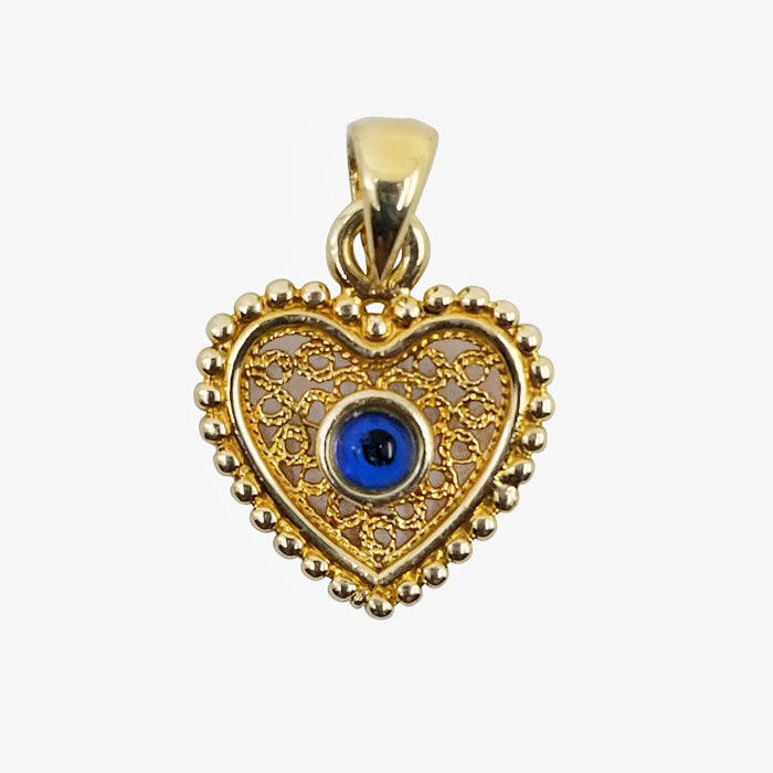14K Yellow Gold Evil Eye Charm, Heart Shape
