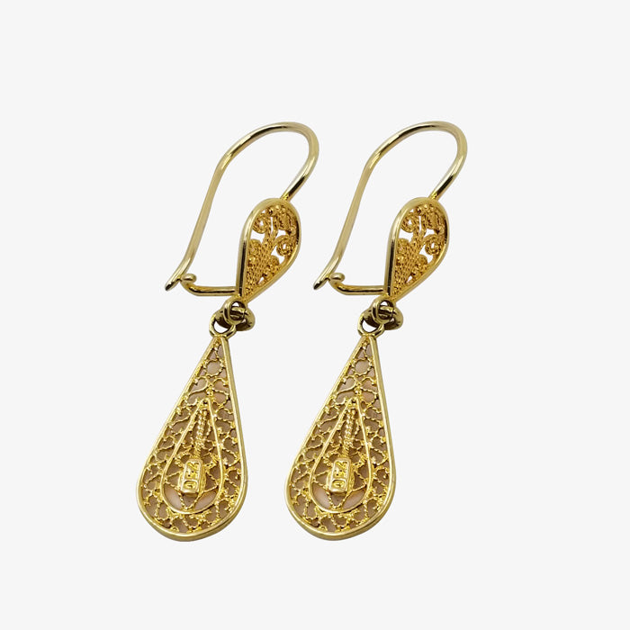 18K Gold Tear Drop Filagree Earrings