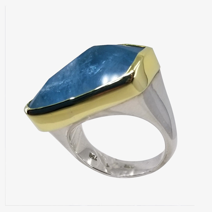 18K Gold Sterling Silver and Aquamarine Ring