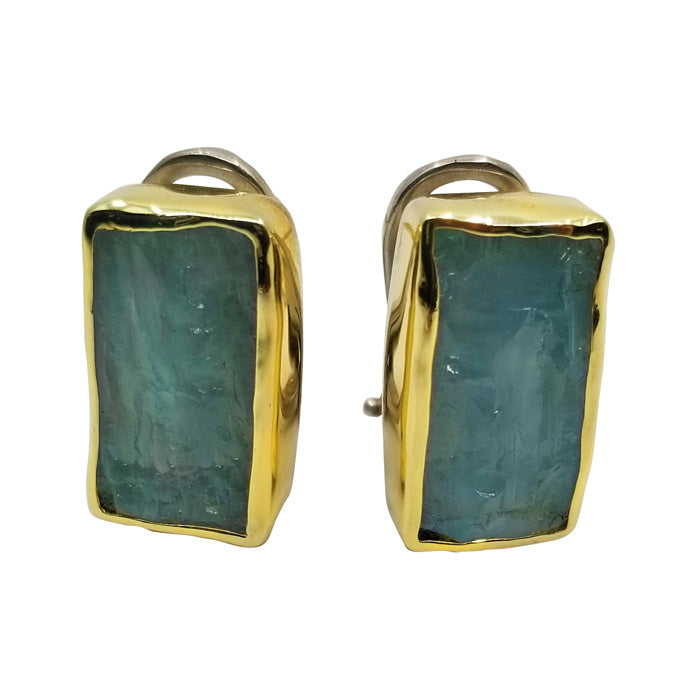 18K Gold and Aquamarine Earrings