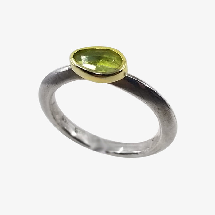 18K Gold Sterling Silver Peridot Ring