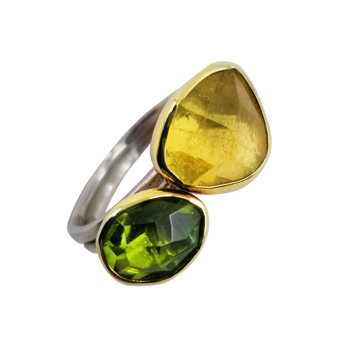 18K Gold Sterling Silver Ring with Peridot and Heliodor