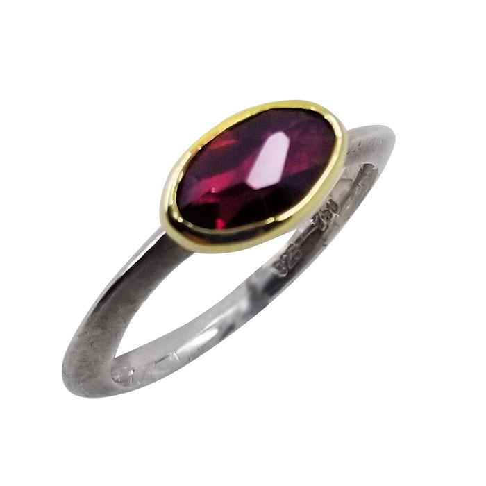 18K Gold Sterling Silver Ring with Rhodolite