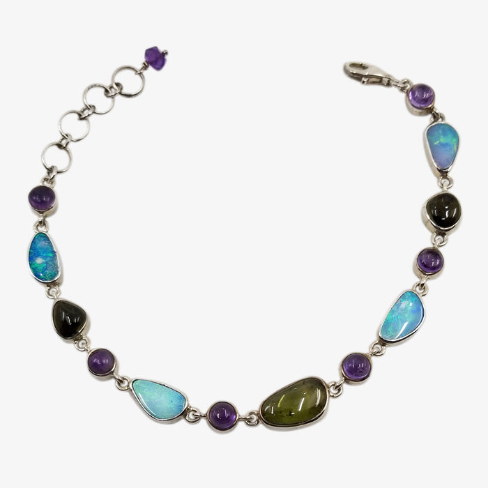 Sterling Silver Bracelet with Opal, Amethyst and Green Tourmaline