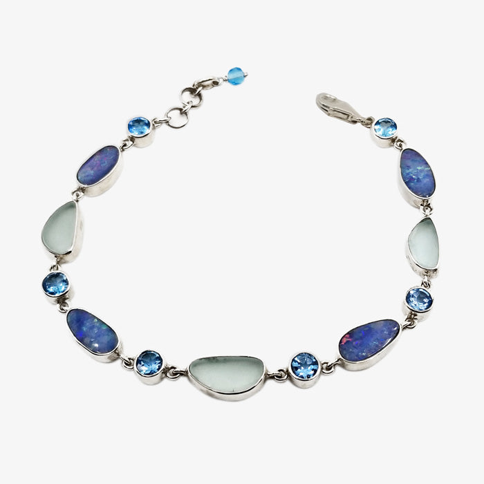 Sterling Silver Bracelet with Opal, Blue Topaz, Green Sea Glass