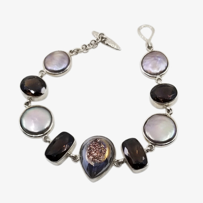 Sterling Silver Bracelet with Spanish Rose Druzy and Smokey Quartz