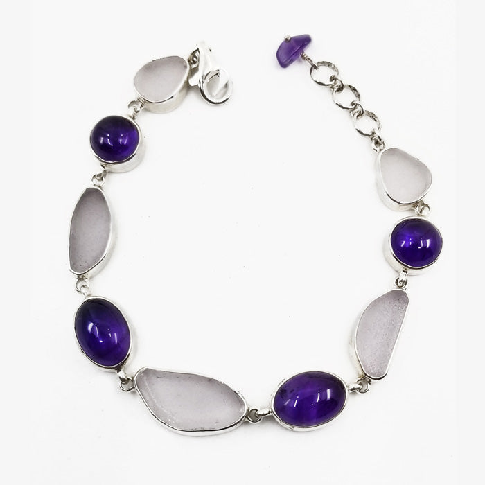 Sterling Silver Bracelet with Lavender Sea Glass and Amethyst