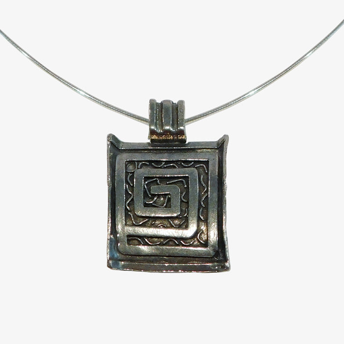 Solid Pewter Greek Key Pendant with stainless steel choker chain