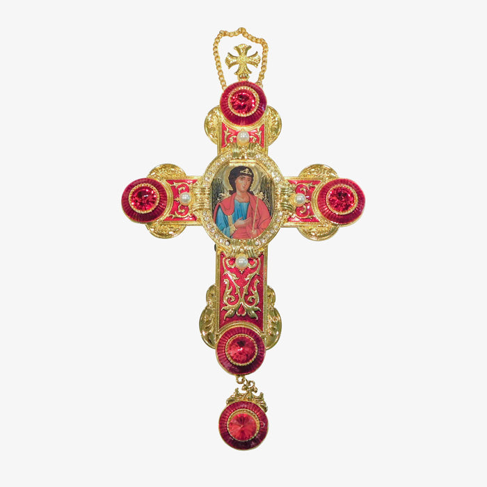 Enameled Jeweled Wall Cross / St Michael