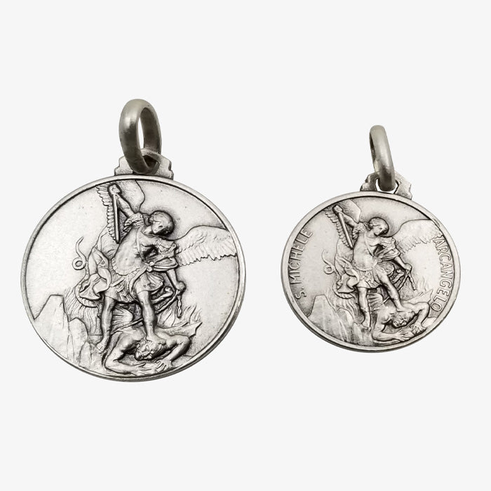 Sterling Silver St. Michael Pendant, Matte Finish