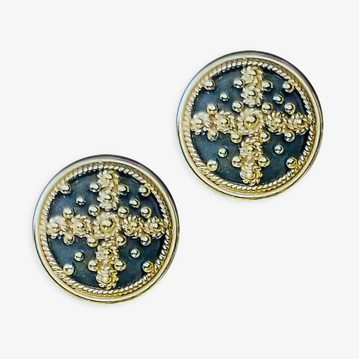 18Kt Yellow Gold Posted Earrings - Black Platinum, Granulation design