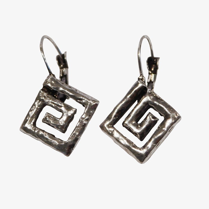 Sterling Silver over Bronze Greek Key Earrings