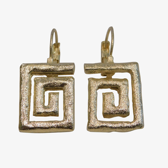 14K Gold over Bronze Greek Key Earrings