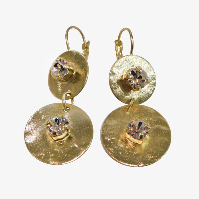 14K Gold over Bronze Disc Earrings with Swarovski Crystals