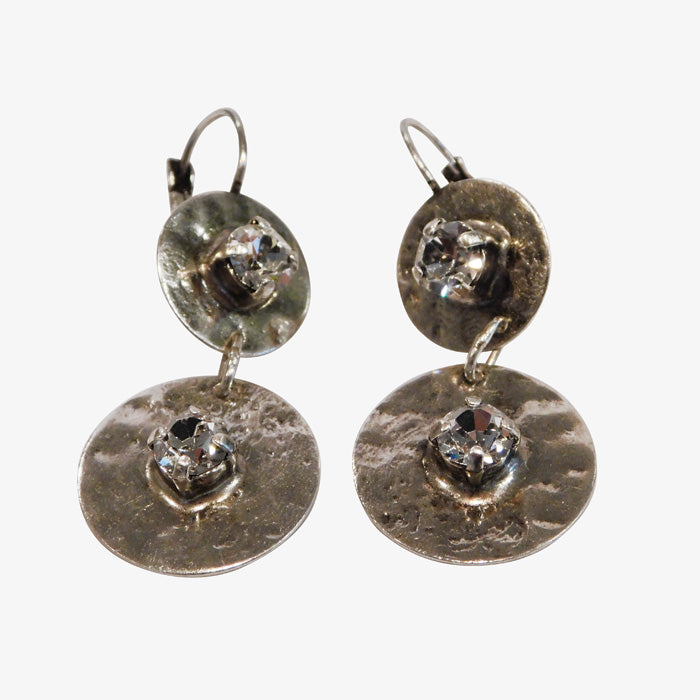 Sterling Silver over Bronze Swarovski Crystal Earrings