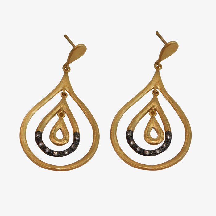 24K Gold and Rhodium Plated Diamond Earrings