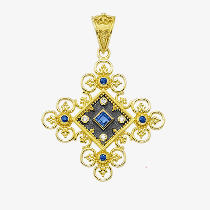 18K Yellow Gold Filigree Cross with Center Stone and Diamonds