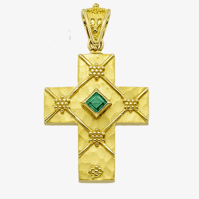 18K Solid Yellow Gold Cross with Sapphire, Emerald or Ruby stone