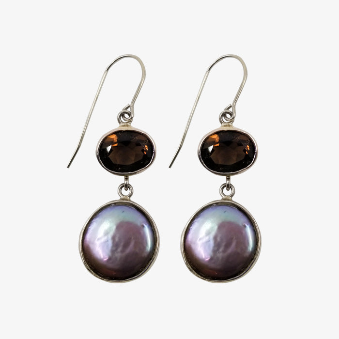 Sterling Silver, Smoky Quartz and Pearl Mauve Earrings