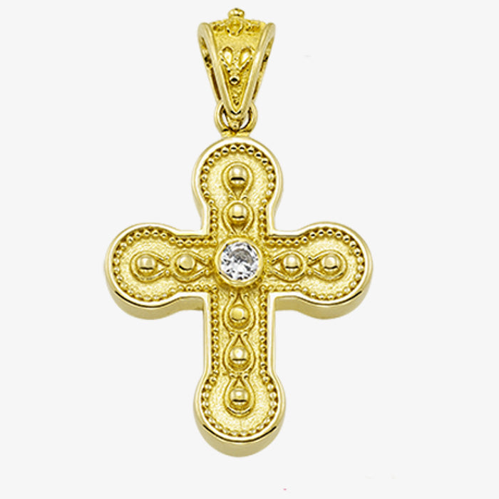 18K Solid Yellow Gold Cross with Diamond, Sapphire, Emerald or Ruby stone