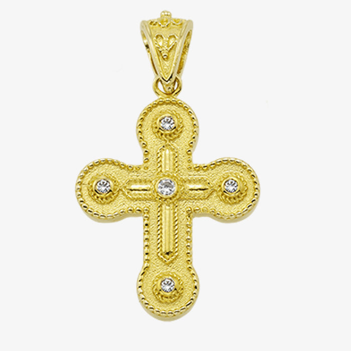 18K Solid Yellow Gold Cross with Sapphire, Emerald or Ruby with Diamonds