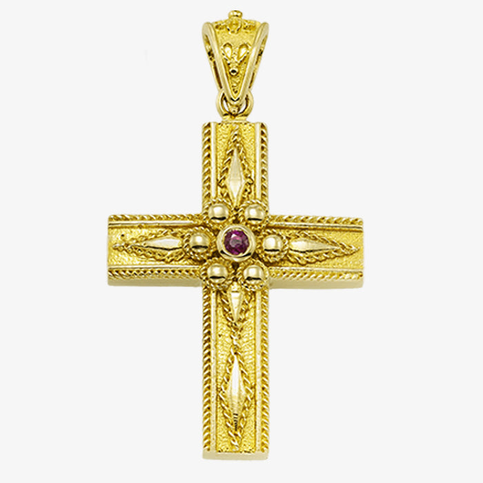 18K Solid Yellow Gold Cross with Diamond, Sapphire, Emerald or Ruby
