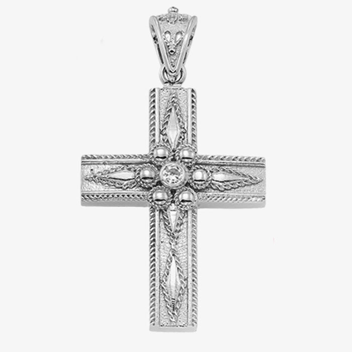 18K Solid White Gold Cross with Diamond