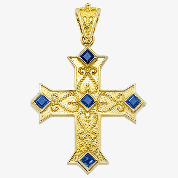 18K Solid Yellow Gold Cross with Sapphire, Emerald or Ruby stones