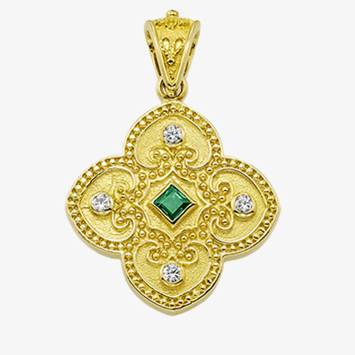 18K Yellow Gold Cross with Center Stone and Diamonds
