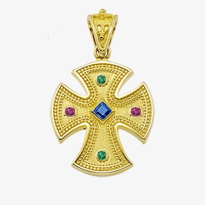 18K Solid Yellow Cross with Sapphire, Emerald or Ruby stones