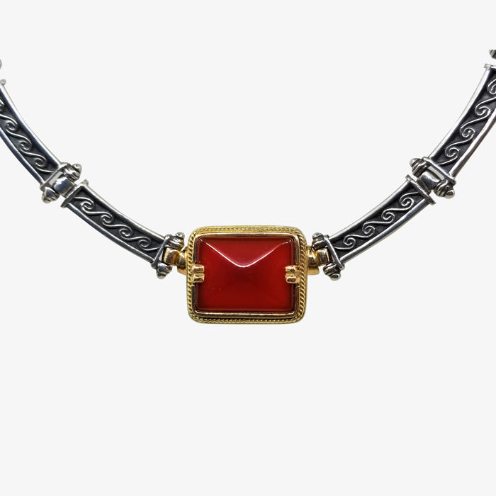 Greek Sterling Silver / 18K Gold  Necklace with a Faceted Carnelian Center Stone