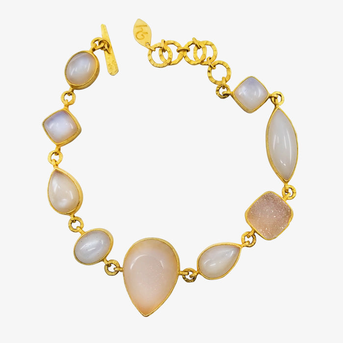 18K Gold over Silver Bracelet with Rough Cut Moonstone