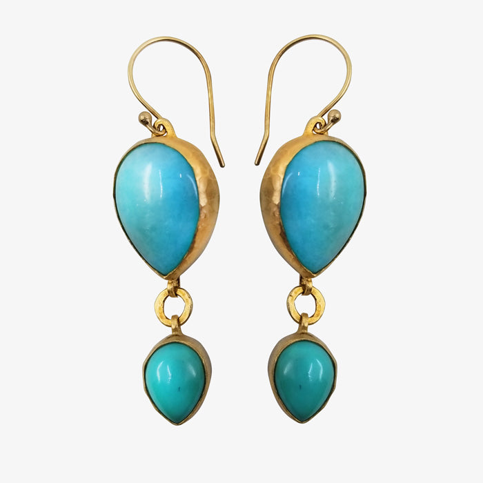 18K gold over Silver Earrings with Turquoise stones