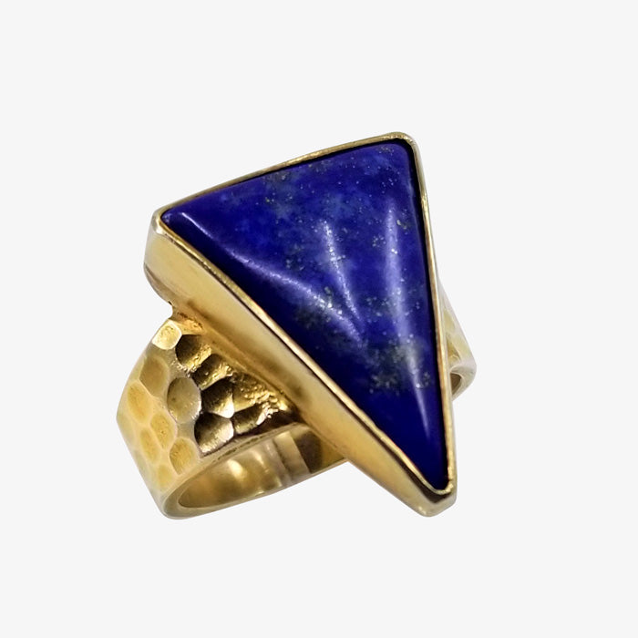 18K over Silver Ring with Lapis stone