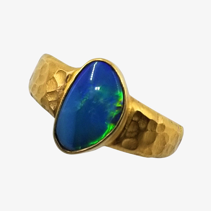 18K Gold over Silver Ring with Opal Stone