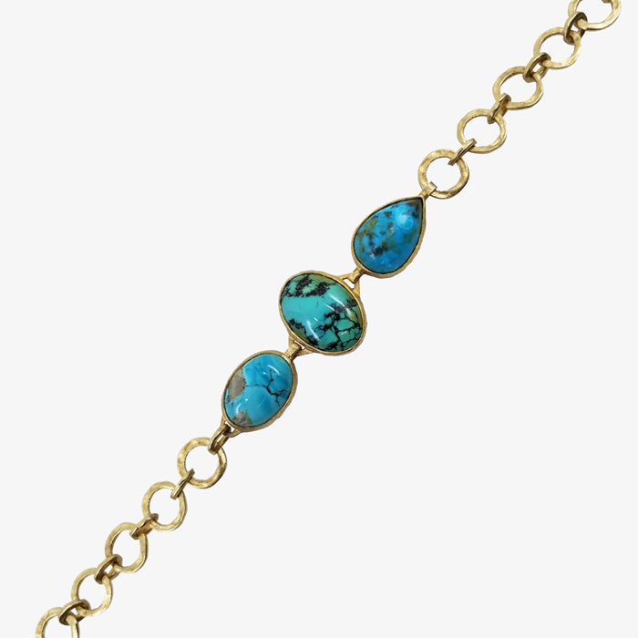 18K Gold over Silver and Turquoise Bracelet