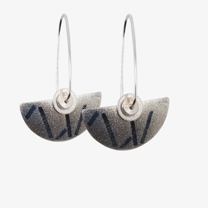 Sterling Silver Half Round Earrings