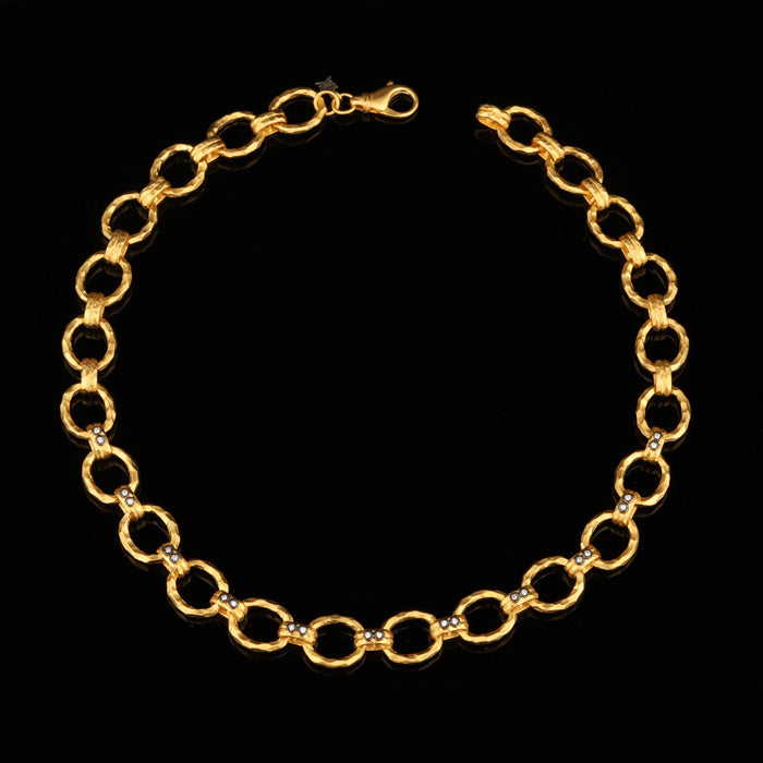 24K Yellow Gold over Silver Necklace with Diamonds