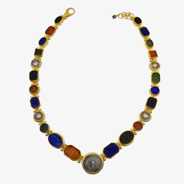 24K Gold and Stone Necklace with Jade, Lapis, Agate Silver Coins.