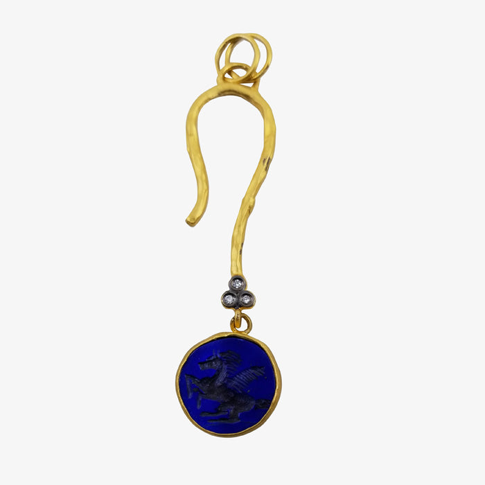 24K Yellow Gold and Lapis Pendant