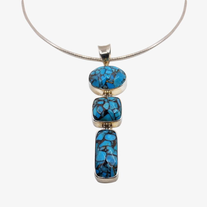 Sterling Silver Necklace with Turquoise and Mosaic Faceted