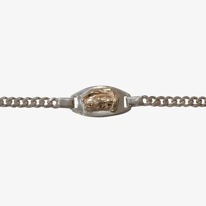 Sterling Silver 18K Gold Christ Head  Bracelet