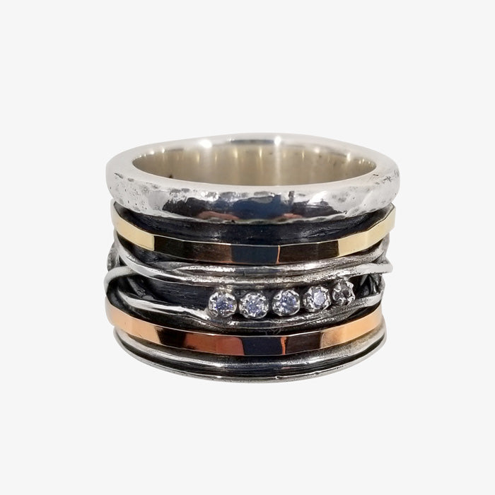 Sterling Silver and 10K Gold Band Ring